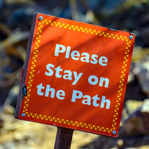 Oranje bord met de tekst: Please stay on the path; foto van Mark Duffel via Unsplash