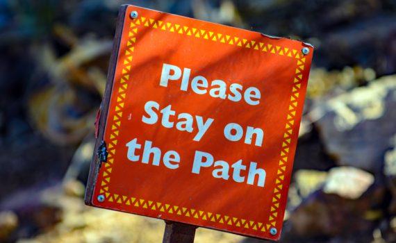 Oranje bord met de tekst: Please stay on the path; foto van Mark Duffel via Unsplash
