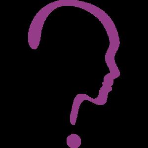 Logo van Mevrouw Helderder: een paars profiel van een vrouwenhoofd, dat eruit ziet als een vraagteken